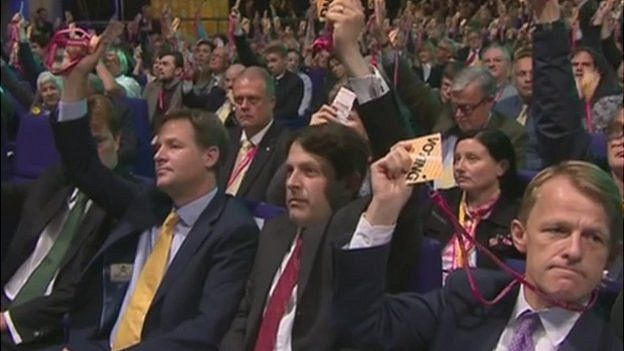 Nick Clegg voting at the Lib Dem conference