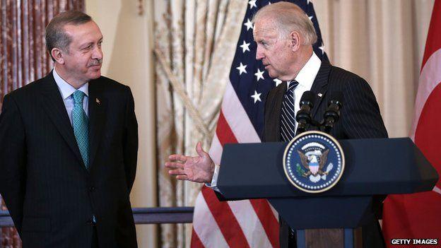 Turkish President Recep Tayyip Erdogan and US Vice President Joe Biden in 2013