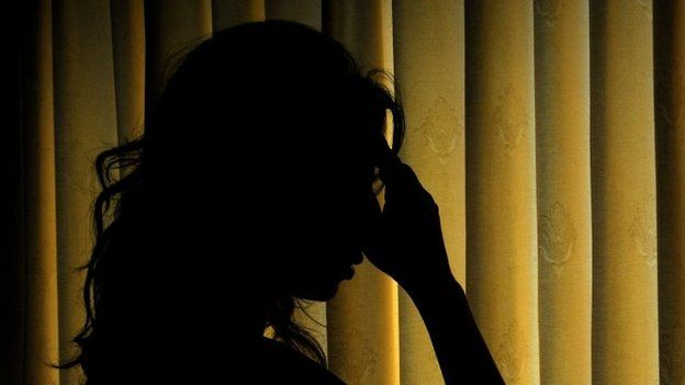 Anguished women in silhouette