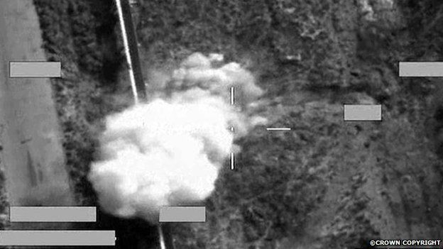 Screen shot of a strike on an IS armed pick-up truck, using a Brimstone missile