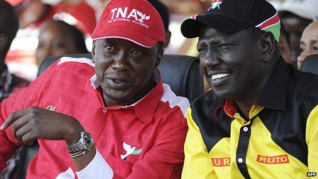 Uhuru Kenyatta (l), William Ruto (r) - on the campaign trail March 2013