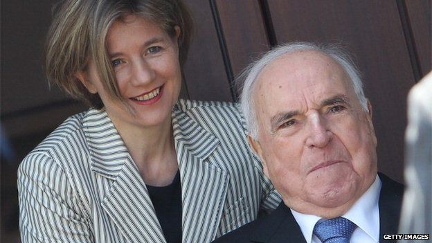 Helmut Kohl and his wife Maike Kohl-Richter are seen at their home in Germany on 16 May 2014