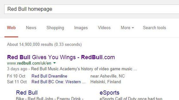 Red Bull homepage