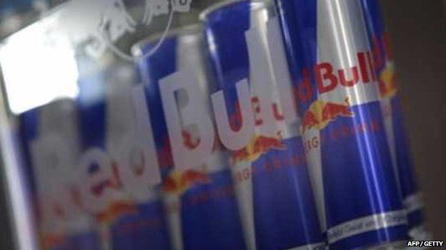 Red Bull cans in fridge