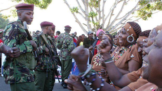 Traditional dancers at the airport to welcome home President Uhuru Kenyatta