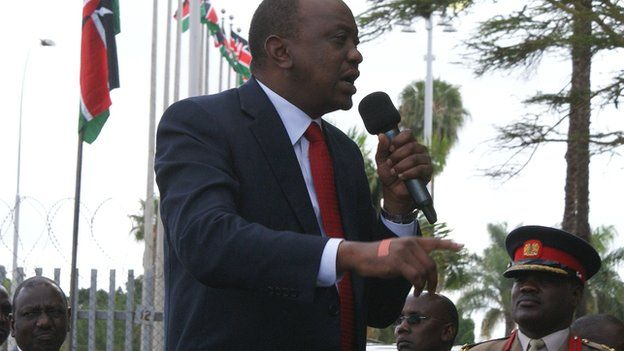 Uhuru Kenyatta addressing his supporters on Thursday 9 October 2014