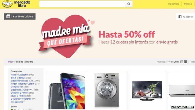 MercadoLibre's website
