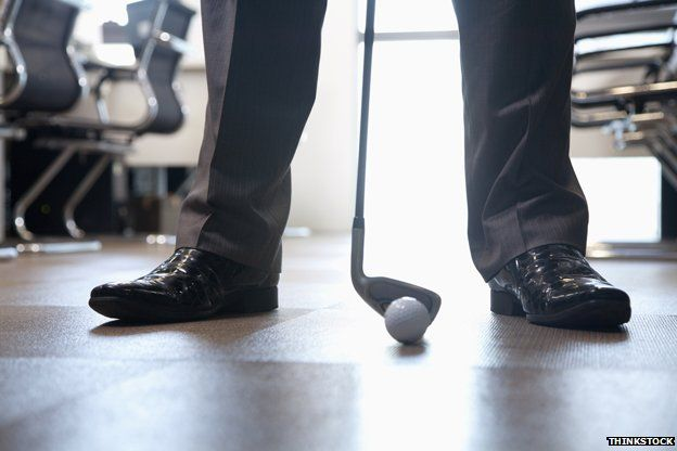 Playing golf in the office
