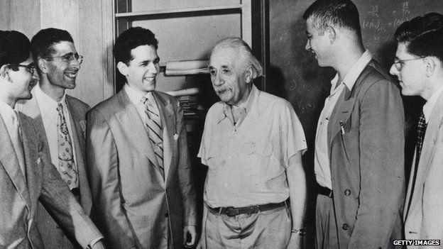 Albert Einstein meets with National Science Foundation postgraduate fellows.
