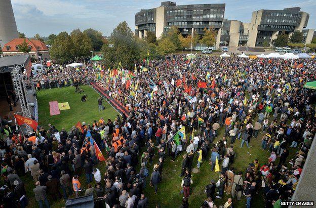 Kurdish demonstrators in Duesseldorf, Germany, 11 October