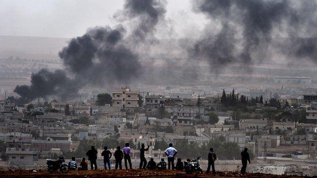 Smoke rising over Kobane