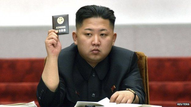 North Korean leader Kim Jong-un holds up his ballot during the fifth session of the 12th Supreme People's Assembly of North Korea at the Mansudae Assembly Hall in Pyongyang in this 13 April 2012 file photo released by the North's KCNA on 14 April 2012