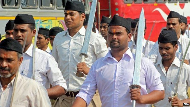 Members of the Rashtriya Swayamsevak Sangh (RSS), a Hindu fundamentalist and hardline organisation, participate in a path march on the occasion of Dussehra festival in Bhopal, India, 03 October 2014