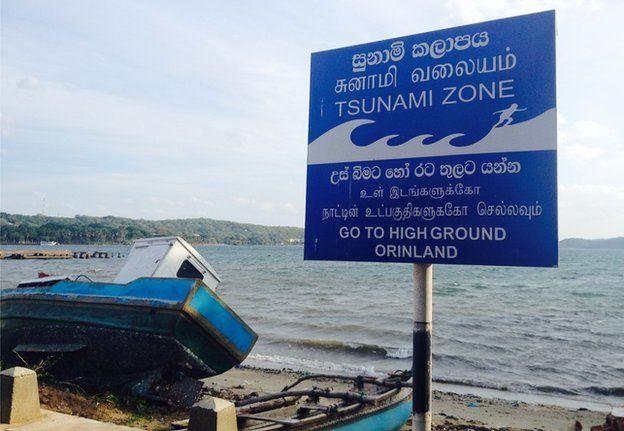 Tsunami warning sign in Trincomalee, Sri Lanka
