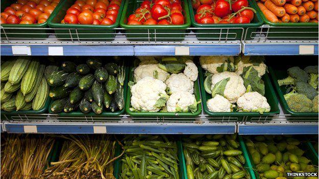 Vegetables on display in a supermarket