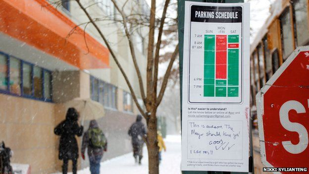 Parking sign designed by Nikki Sylianteng on New York's Lower East Side