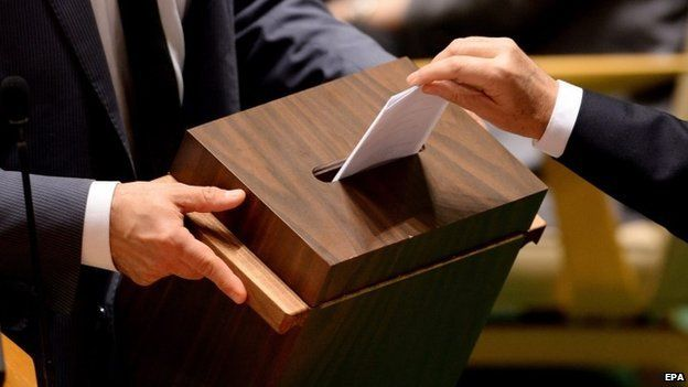 A vote is cast during the election of five non-permanent members of the UN Security Council in New York - 16 October 2014