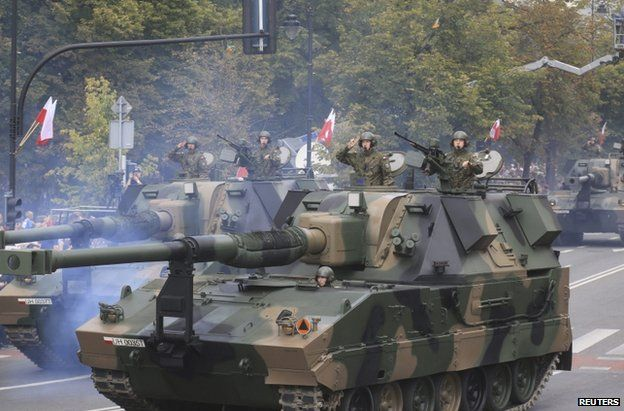 Polish armour on parade in Warsaw, 15 August