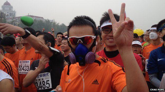 Runner in Beijing marathon (19 October 2014)