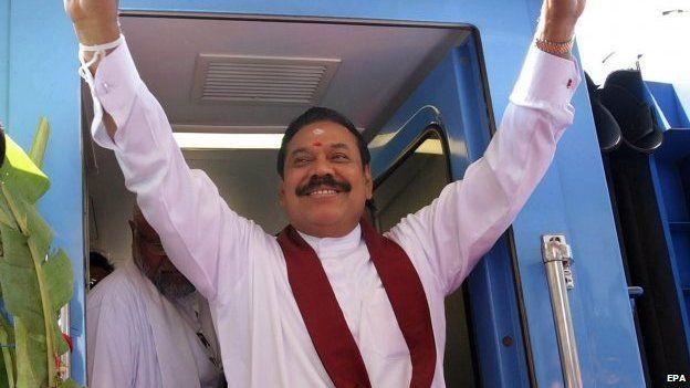 Sri Lankan President Mahinda Rajapaksa in Jaffna, Sri Lanka, 13 October 2014
