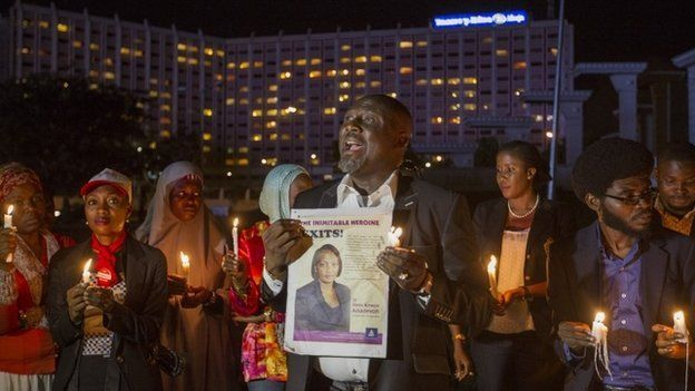 A candlelight vigil for Dr Stella Ameyo Adadevoh and other Ebola victims in Abuja, Nigeria on 26 August 2014