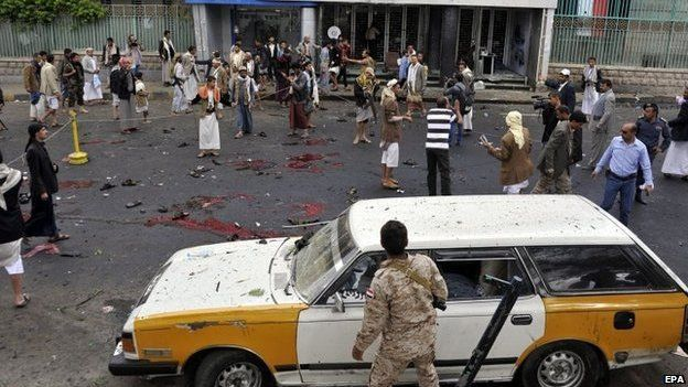 Aftermath of suicide bomb attack in Sanaa (9 October 2014)