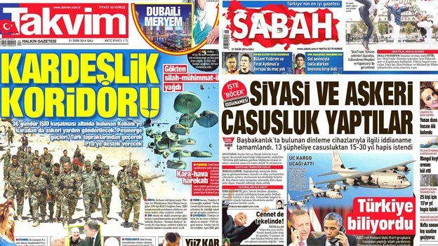 Front pages of Turkish tabloid Tavkim and pro-government newspaper Sabah