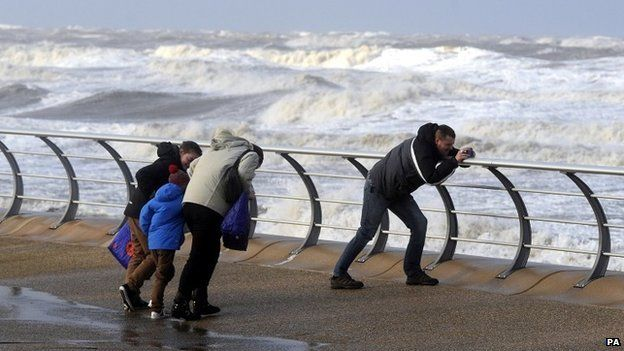 People battle high winds in Blackpool
