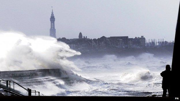 waves breaking on the sea front at Blackpool