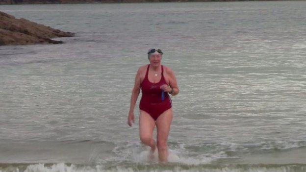 jutta enjoys a Sabbath swim
