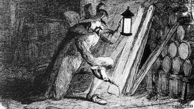 Guy Fawkes lighting barrels of gunpowder