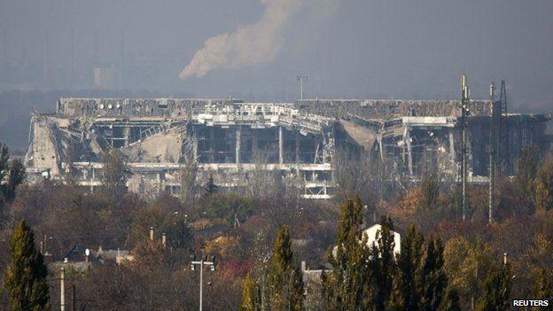 The damaged main terminal of the Donetsk Sergey Prokofiev International Airport