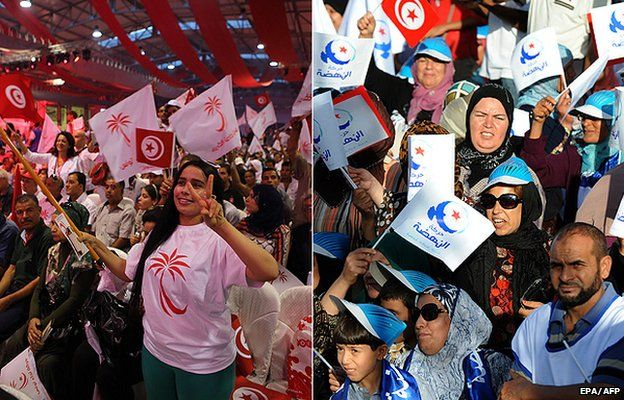 supporters of two leading parties