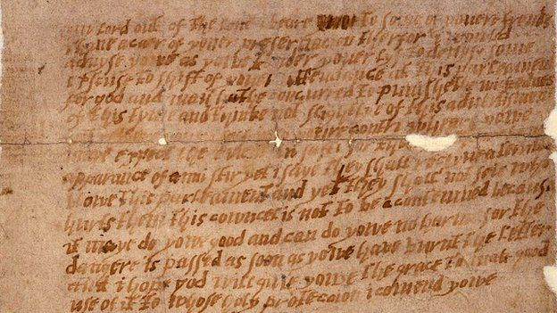 The letter sent to Lord Monteagle