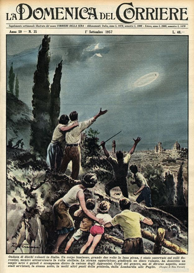 Illustration showing flying saucers over Florence