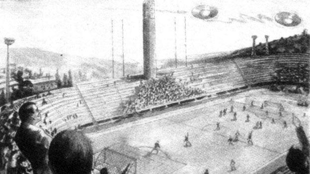 Artist's impression of UFOs over stadium