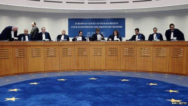 Judges of the European Court of Human Rights (ECHR) in Strasbourg, eastern France on 14 October 2014