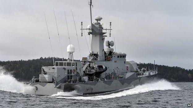 Swedish corvette HMS Stockholm patrols Jungfrufjarden in the Stockholm archipelago, Sweden, 20 October 2014
