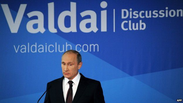 Russian President Vladimir Putin speaks on 24 October 2014 at a meeting of members of the Valdai International Discussion Club