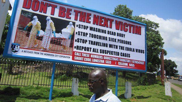 An Ebola information poster in Monrovia, Liberia