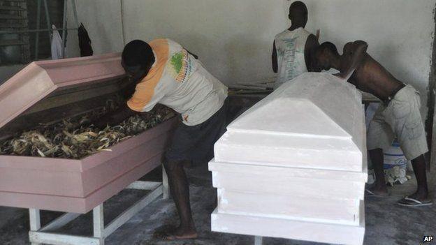 Casket makers in Monrovia, Liberia