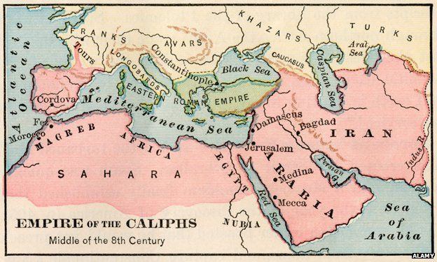 """Map entitled """"Empire of the Caliphs Middle of the 8th Century"""""""
