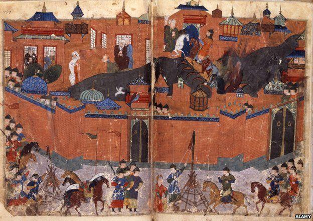 Mongols under the leadership of Hulagu Khan storming and capturing Baghdad in 1258, from the 'Jami al-Tawarikh'