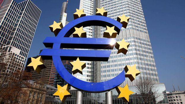 Euro logo outside ECB