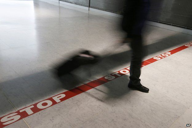 Stop line at Charles de Gaulle airport, near Paris
