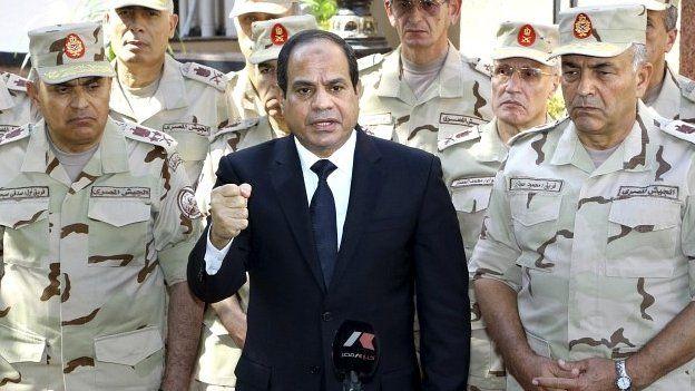 President Abdel Fattah al-Sisi giving a speech outside the Supreme Council in Cairo - 25 October 2014