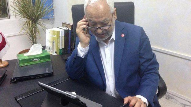 Rachid Ghannouchi on the phone