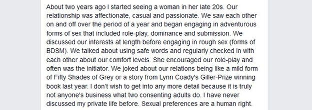 An excerpt of Ghomeshi's facebook letter
