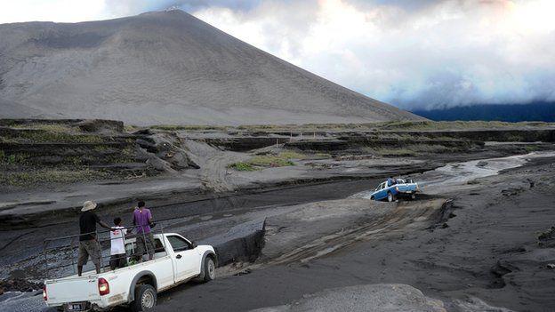File image of ash field towards Mount Yasur volcano as it billows ash over Tanna in Vanuatu. Aug 2010