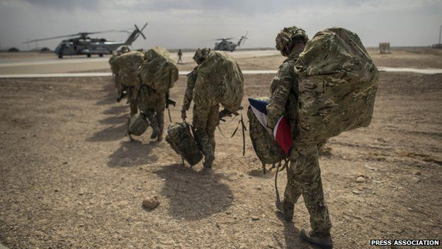 British soldiers appeared at Camp Bastion, Afghanistan, on 27 October 2014